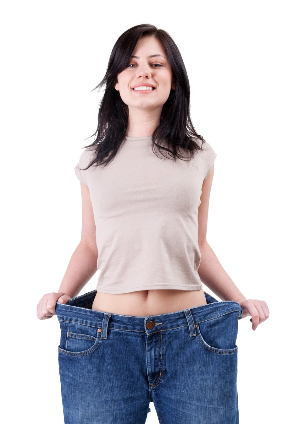 weight loss woman  in too great jeans trousers